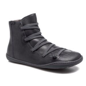 Camper Peu Cami Black Leather Lace Up Booties